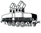 Old small electric locomotive — Stock Vector