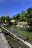 View of the bypass channel in a city park Konstanz — Stock Photo