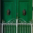 Green door in the city, details view, door fragment, maltese door, nice and bright contrast, exterior — Stock Photo