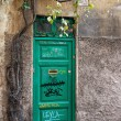A weathered green door of Rome, Italy, Europe. Old wooden door with various writings in Italy, a green wood old door in the centre of Rome, Italy. Old door. — Stock Photo