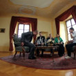 Fish eye shot of a business meeting in an old fashioned office — Stock Video #28346355