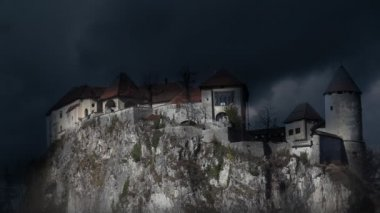 Still shot of Bled's castle with stormy clounds — Stock Video