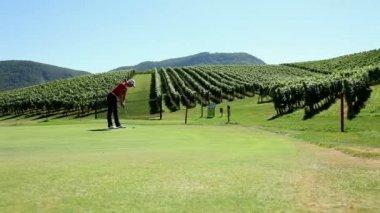 Shot of a woman golfer — Stock Video