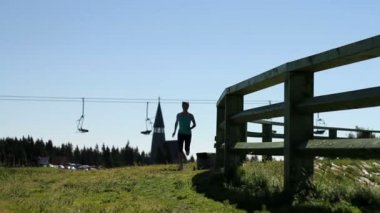 Woman jogging — Stock Video