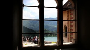 Shot of the part of the lake Bled from the window inside of Bled's castle — Stock Video