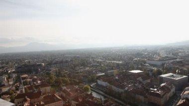 Město Ljubljana z oblohy — Stock video
