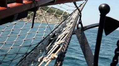 Close up shot of the sailing boat's anchor — Stock video