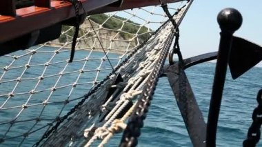 Close up shot of the sailing boat's anchor — Video Stock