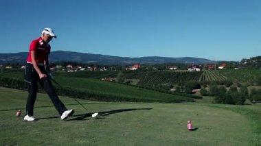 Close up shot of a golfer — Stock Video