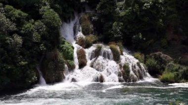 Panoramic shot of waterfall on Krka river-Croatia — Stock Video