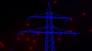 Shot of power line with artificial animated electrons — Stock Video