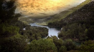 Panoramic shot of canyon of Krka river-Croatia with added cloud time laps — Stock Video