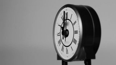 Beautiful detail of black and white antique clock — Stock Video