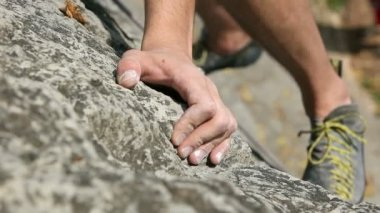 Details of a rock climbing in nature — Stock Video