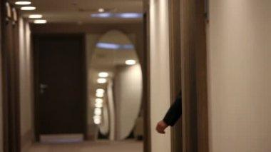 Shot of a symphatic couple walking in fancy hotel lounge — Stock Video