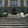 Stock Video: Shot of stairs to parliament in Belgrade in Serbia