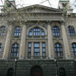 Stock Video: Shot of facade of parliament in Belgrade in Serbia