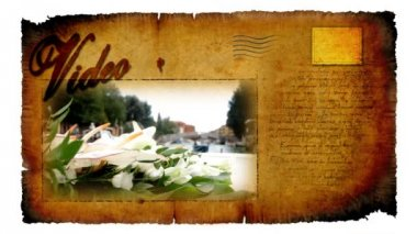 Video card with picture of flowers and Venice — Vídeo de stock