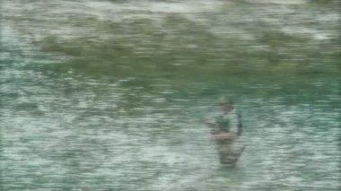 Fisherman is fishing — Stock Video