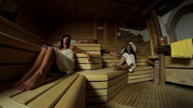 People in sauna — Stock Video