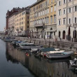 Shot of a sea canal in Trieste full of boats — Stock Video