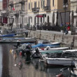 Shot of an old sea canal in Trieste full of boats — Stock Video