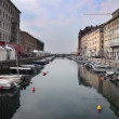Shot of  Sea canal in Trieste full of boats — Stockvideo
