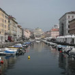 Shot of the sea canal in Trieste, full of parked boats — Stockvideo