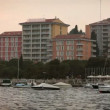 Shot of the port of Portorose with some hotels and riviera in front of hotels — Stock Video