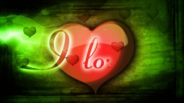Red heart with inscription I love you and animated background for Valentine's day — Stock Video
