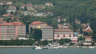 Portorose 海港和从海上里维埃拉的镜头 — 图库视频影像