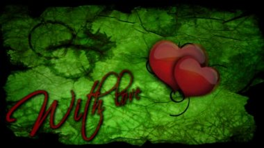 With love inscription with beating heart for Valentine's day — Stock Video