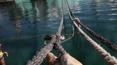 Still shot of ropes above sea surface — Stok video