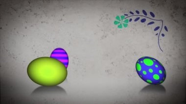 Animated Easter eggs rolling around with growing florals — Stock Video