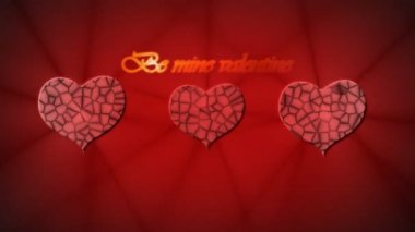 Red relief heart with inscription Be mine Valentine on red backgroun for Valentine's day — Stock Video
