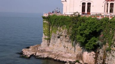 Shot of the castle on the cliff cowered with ivy — Stock Video