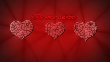 Red reliefed hearts and inscription Be mine Valentine animation for Valentine's day — Stock Video