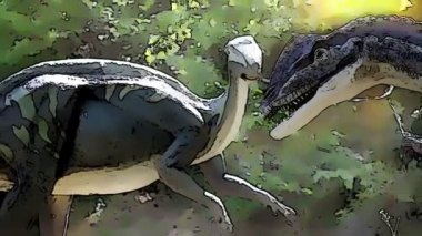 追加「カートゥーン」エフェクトと cinosaur のショット — ストックビデオ