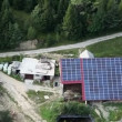 Panorama slide shot from helicopter representing an industrial part of a small town with roofs covered with solar power stations — Stock Video