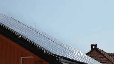 Shot of solar panels on roof — Stock Video