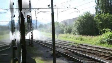 Tiro da paisagem, passando pelo trem — Vídeo stock