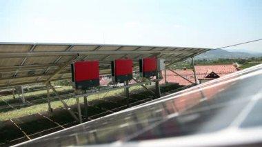 Shot of solar inverters — Stock Video