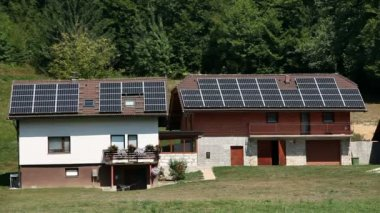 Solar power station on an old house — Stock Video