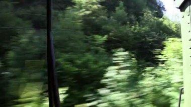 Skott av det vackra landskapet från att flytta tåg — Stockvideo