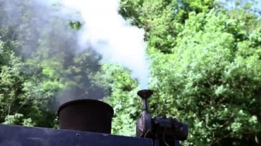 Shot of the steam going out of the chimney of the steam locomotive — Stock Video