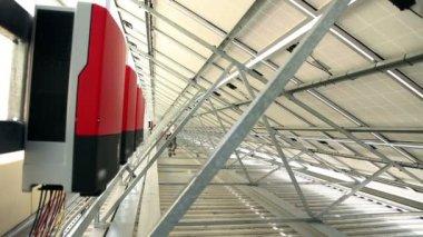 Inverters under solar panels — Stock Video