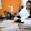 Business woman in office depressed searching for documents — Vídeo Stock