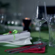 Place setting on decorated table for special occasion — Stock Video
