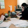 Business woman having a lot of work in office — 图库视频影像