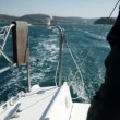 Exciting moment of sailing on windy, sunny day — Stock Video